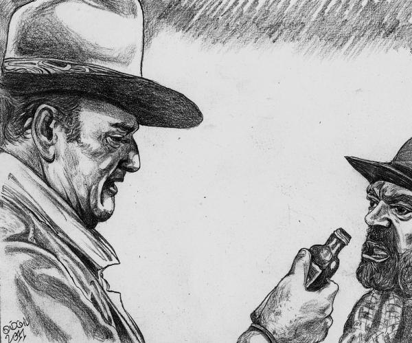 John Wayne, Jack Elam by didgiv